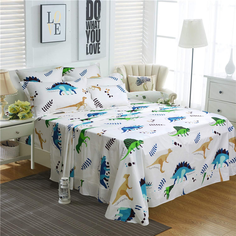 Brandream Kids Dinosaurs Bedding Sets Queen Size Girls Boys Sheets Set 100% Cotton 4Pcs(1 Top Sheet + 1 Fitted Sheet + 2 Pillow Shams)