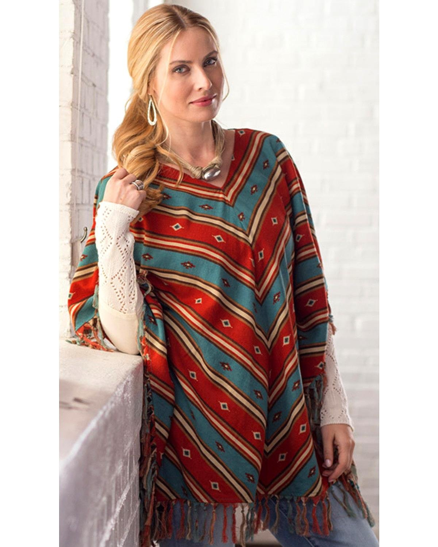 Ryan Michael Women's Serape Stripe Poncho Chili L/X