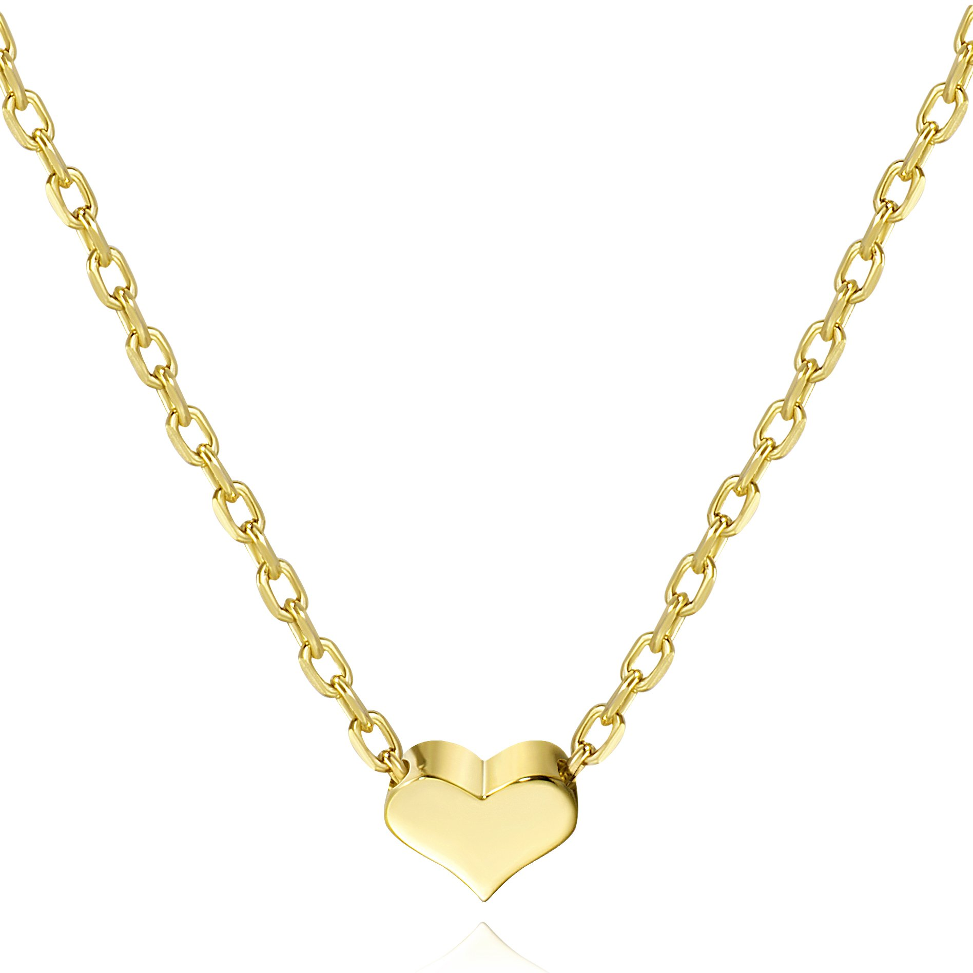 S.Leaf Tiny Heart Necklace Sterling Silver Delicate Love Heart Collar Necklace Dainty Necklace (Gold, 7)