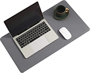 Leather Desk Pad Protector,Mouse Pad,Office Desk Mat,Non-Slip PU Leather Desk Blotter,Laptop Desk Pad,Waterproof Desk Writing Pad for Office and Home (Gray,23.6