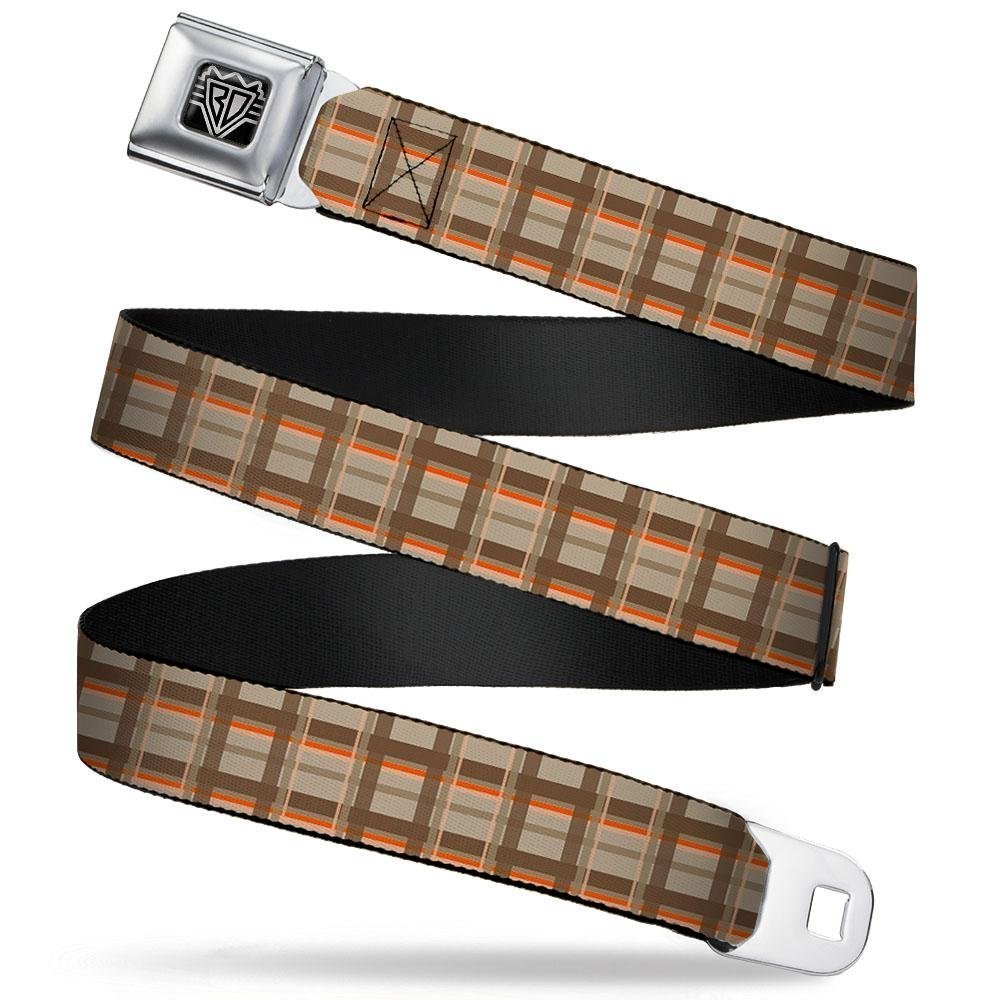 Plaid Tan Shades//Orange Buckle-Down Seatbelt Belt 1.0 Wide 20-36 Inches in Length