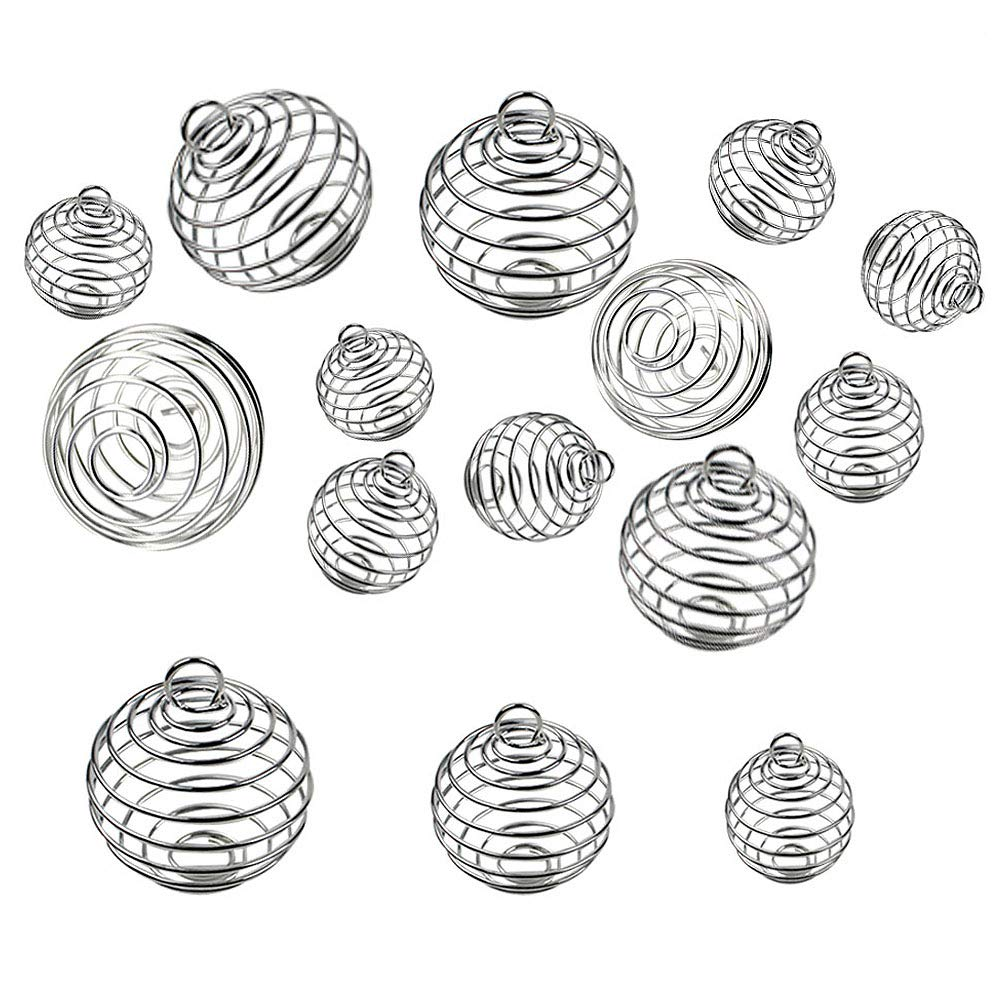 JPSOR 30pcs Silver Plated Spiral Bead Cages Pendants for Jewelry Making (15mm, 25mm, 30mm)
