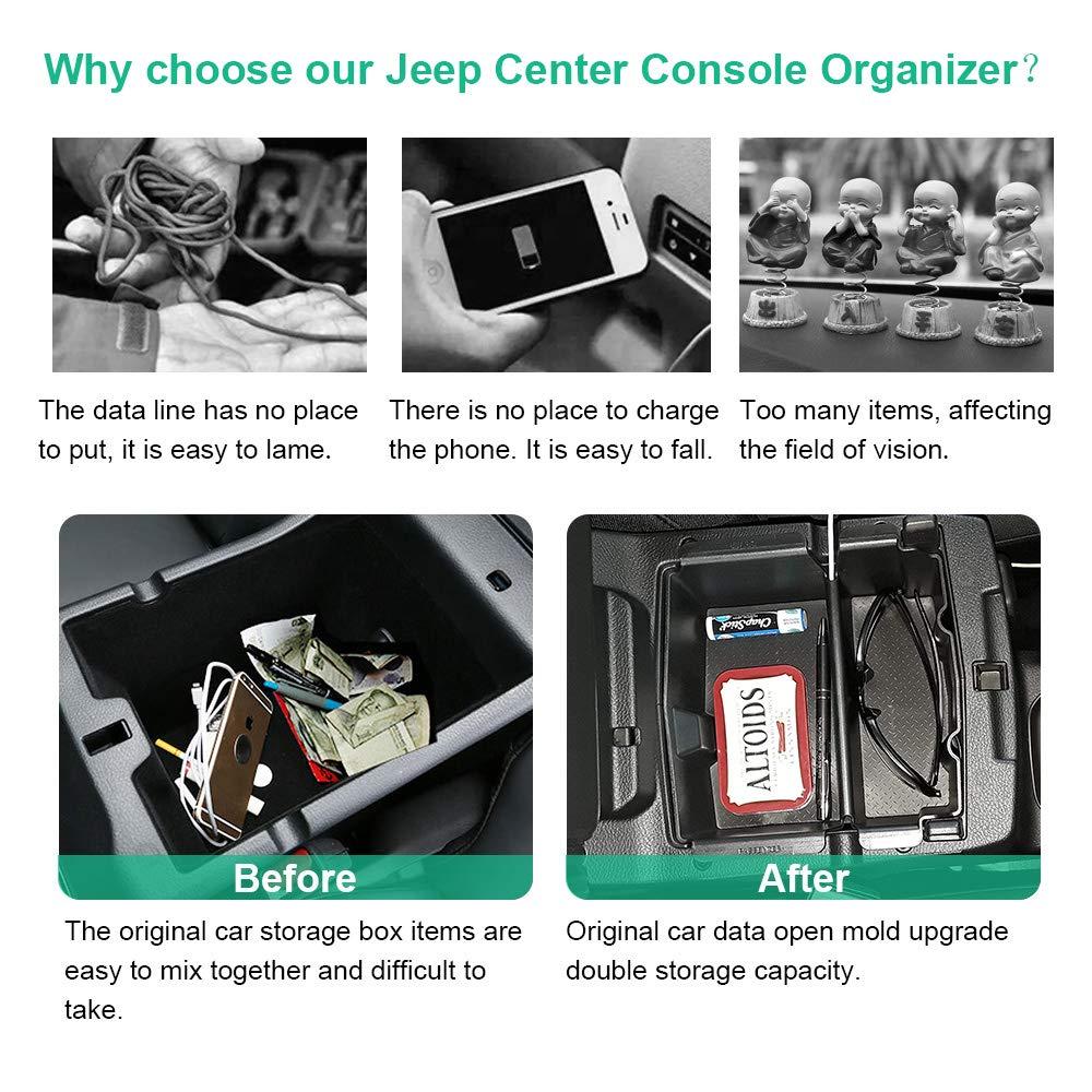 A ABIGAIL ABS Center Console Armrest Box Tray Organizer for Jeep Wrangler JL JLU 2018-2019 Jeep Gladiator JT Truck 2020