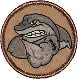 """Muscle Shark Patrol Patch - 2"""" Diameter Round Embroidered Patch (Hook Fastener)"""