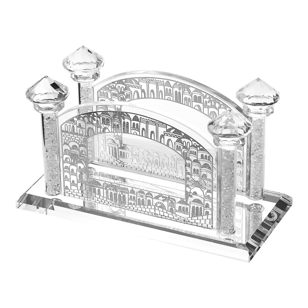 Crystal Napkin Holder with Silver Jerusalem Design and Diamond Topped Crushed Glass Filled Poles by A & M Judaica
