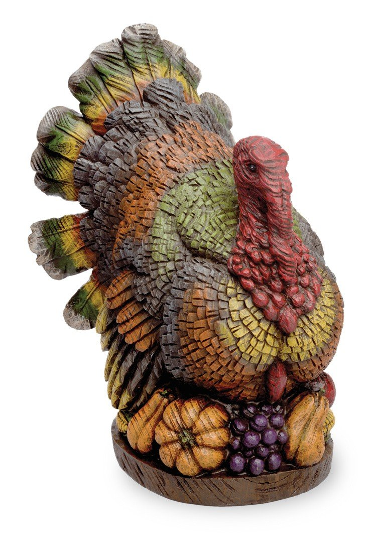 Roosting Turkey On Autumn Harvest 11 x 12 inch Thanksgiving Sculpture