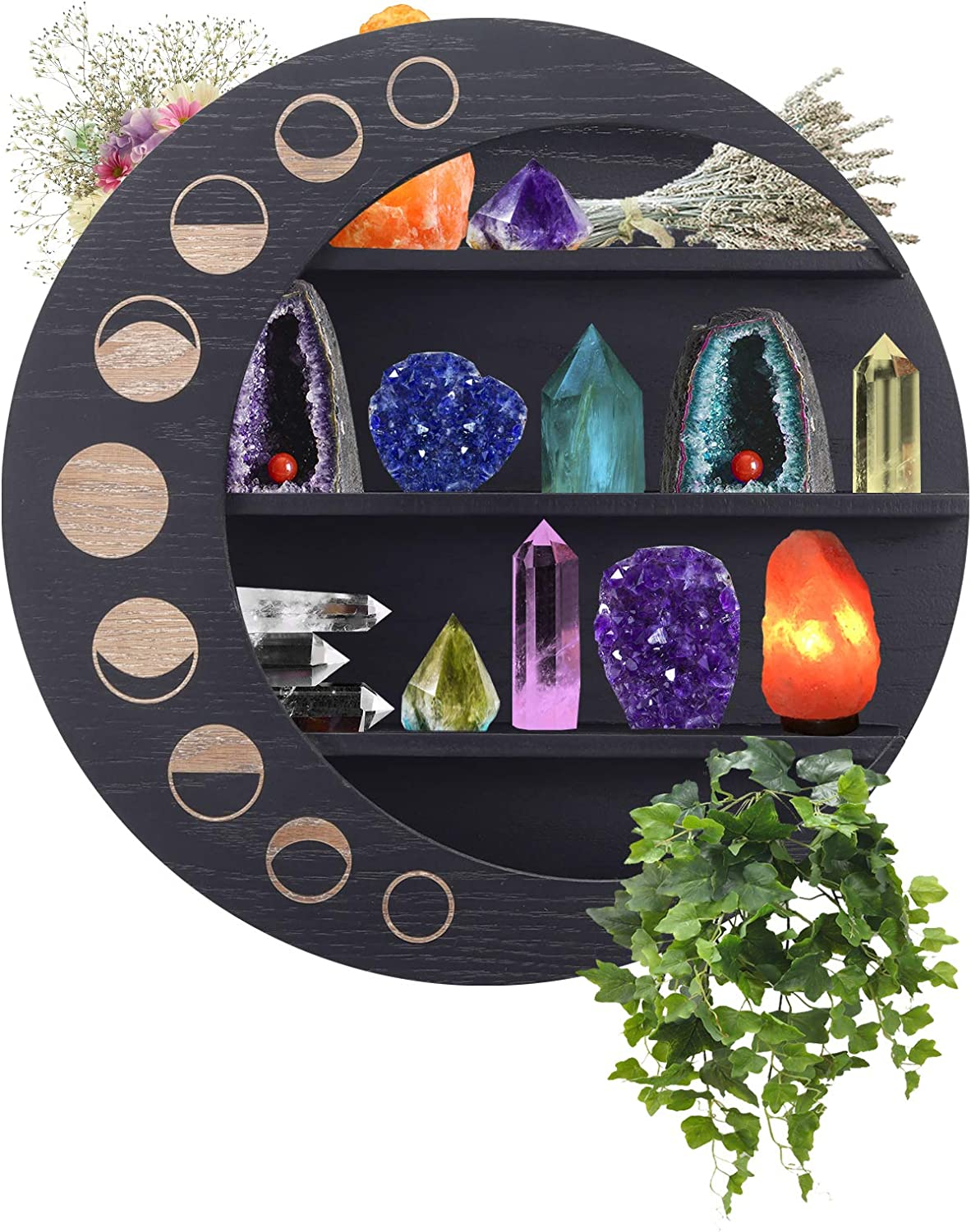 SSISSI Black Crescent Moon Shelf - Crystal Display Shelf - Nail Polish Rack, Crystal Holder & Essential Oil Organizer - Display Shelves For Collectibles - Moon Phase Wall Hanging 3 Tier Crystal Decor