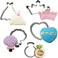 Princess Cookie Cutter Set for Kids Adults, 5 Pieces Stainless Steel Metal Cookie Cutters Molds for Making Biscuits…