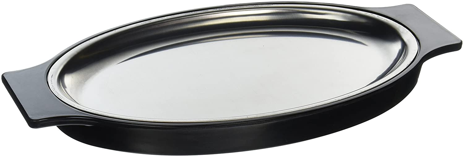 New Star Foodservice 26733 Oval Stainless Steel Sizzling Platter with Insulated Holder, 11.63 by 8-Inch, Black
