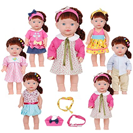 4ca28e4996a91 Image Unavailable. Image not available for. Color: Huang Cheng Toys Set of  6 14-15 Inch Alive Lovely Doll ...