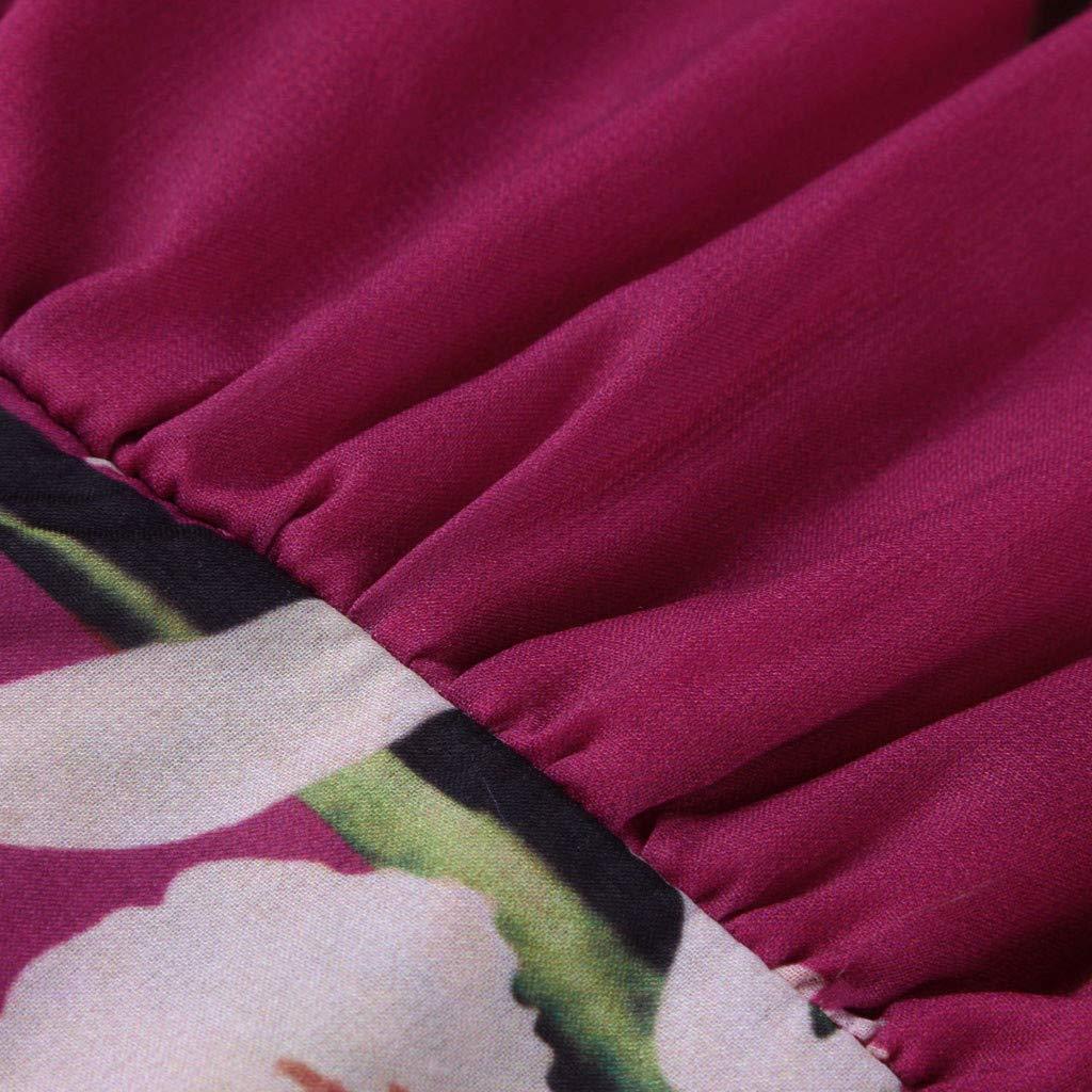 Ultramall Women Fashion Bohemian Floral Printed V Neck Long Sleeve Pleated Chiffon Dress(Hot Pink,M) by Ultramall (Image #7)