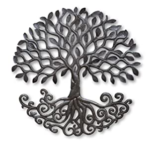 """Tree of Life Metal Wall Sculpture with Curly Roots, Handmade in Haiti, Hang Indoor or Outdoor, Artistic Design 23"""""""