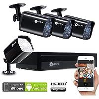 Anni CCTV 1.0MP Kit de videovigilancia, 4CH 1080N HD AHD DVR 4x720p 1500TVL Cámara de Vigilancia, con visión Nocturna, detección de Movimiento, Smartphone, PC fácil Acceso Remoto, sin HDD