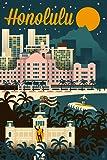 Honolulu, Hawaii - Retro Skyline (12x18 Art Print, Wall Decor Travel Poster)
