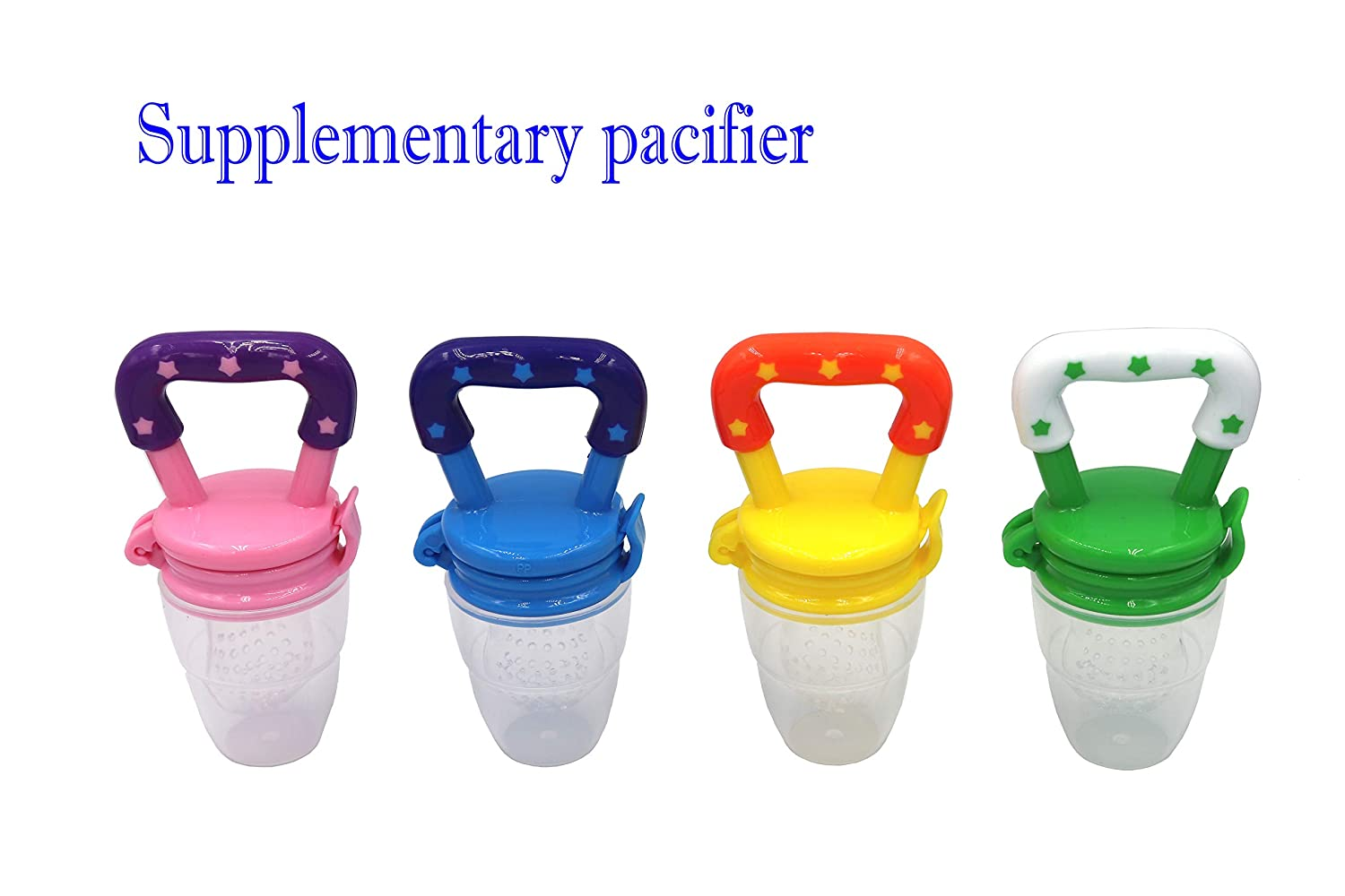 FGen 4pcs Baby Fruit and Vegetable Music Package Rubber Pacifier Medium Baby Fruit Food Supplement