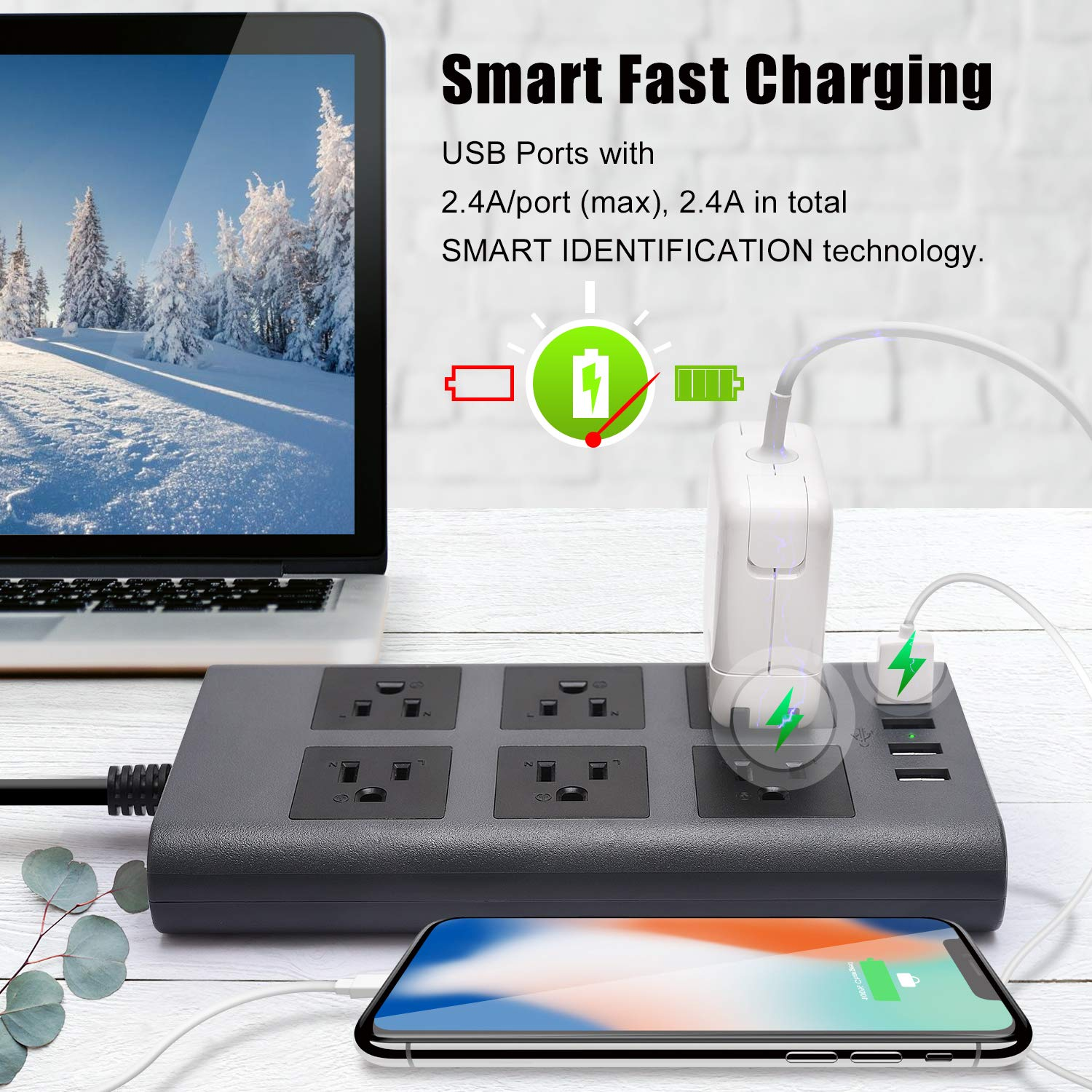 Surge Protector Power Strip 9.8ft Extension Cord SUPERDANNY Fire-Proof 1080J Flat Plug with A Hook /& Loop Fastener as Bonus 6 Outlets and 4 USB Fast Charger for iPhone iPad Home Office Grey Balck