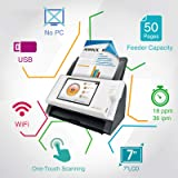 """Plustek eScan A180, PC-Less Duplex Wireless Network Document Scanner, 7"""" Touchscreen with Multi-Page Scanning, Support Network Folder/eMail/Cloud/FTP/PC/Mac/USB"""
