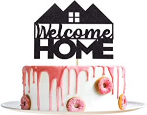 Black Glitter Welcome Home Cake Topper - New Home/New Baby/Housewarming/Retiring from the Army/Return from Maternity/Family Party Decoration Supplies