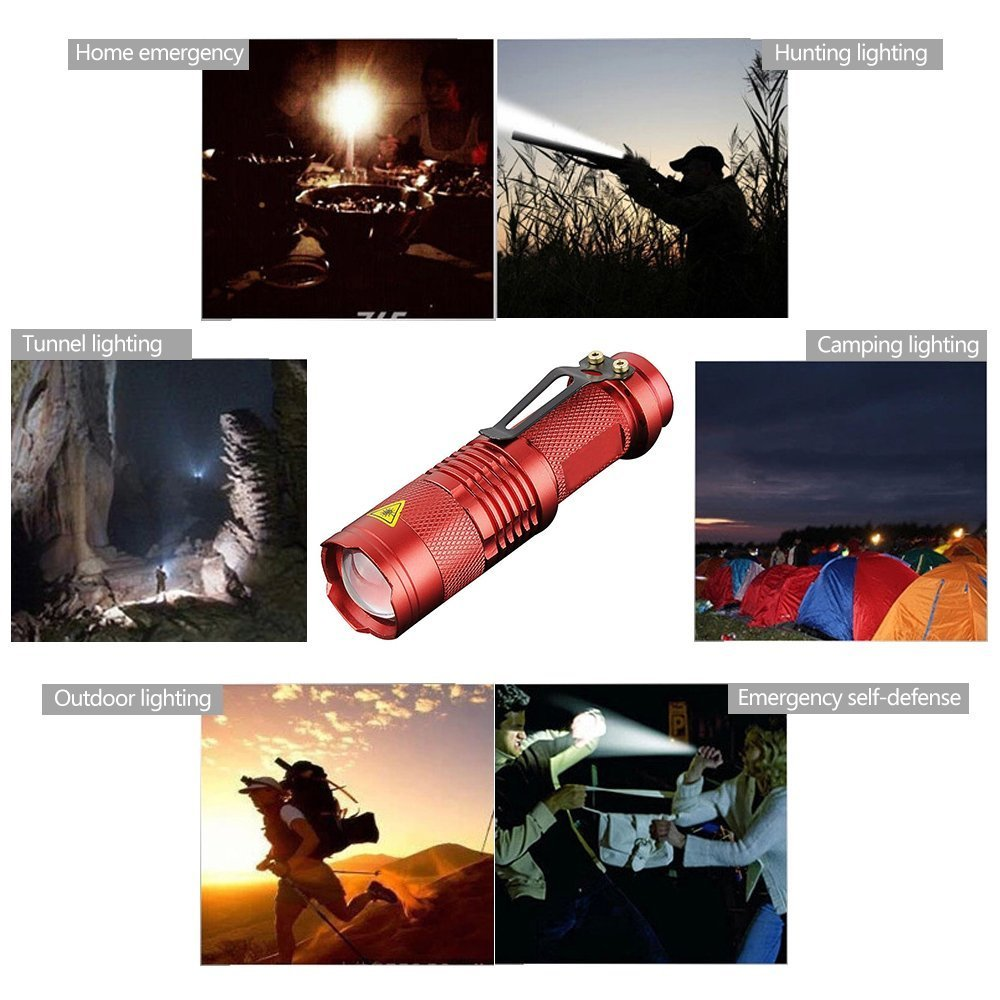 CTKcom LED Bright Flashlight Torch(5 pack) - Adjustable Focus Zoomable Light,3 Mode Mini Cree Q5 Portable Handheld Flashlight for Camping, Riding, Hiking, Hunting & Indoor Activities,multiple Color
