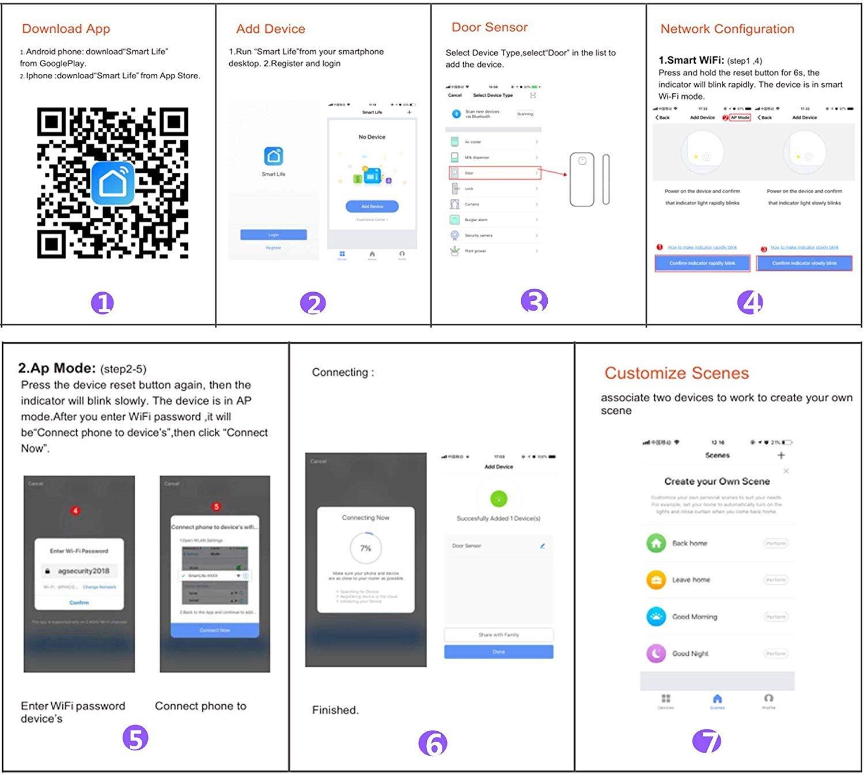 El detector de sensor de imán de puerta de ventana inteligente funciona con Alexa Google Home IFTTT para el sistema de alarma de seguridad ...