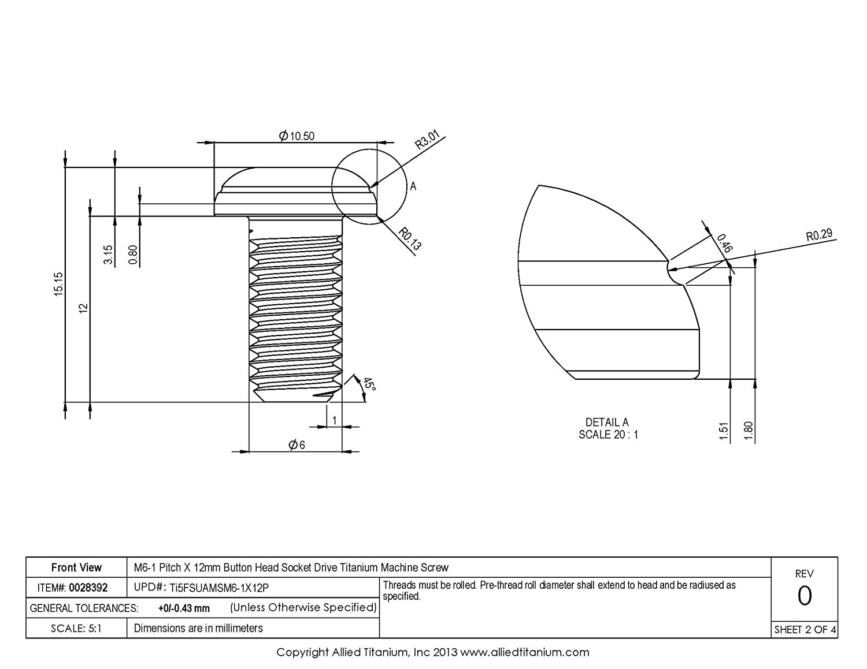 Pack of 12 609062001 Inc Grade 5 M6-1 Pitch X 12mm Button Head Socket Drive Machine Screw Allied Titanium 0028392, Ti-6Al-4V