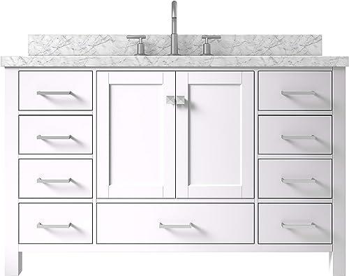 ARIEL 55″ Inch Rectangle Sink White Bathroom Vanity Cabinet