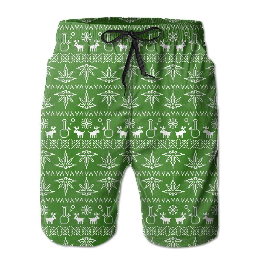 Men Summer Pixel Art Christmas Weed Pattern Quick Dry No Mesh Lining Beach Shorts Board Shorts