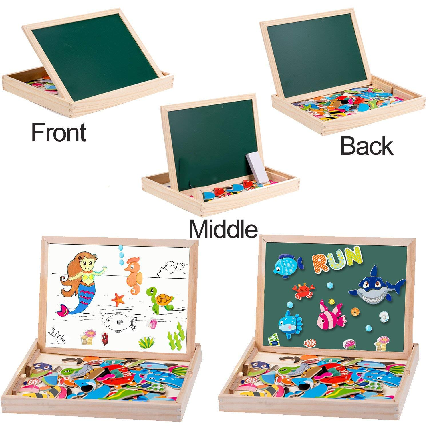 MOVEONSTEP Magnetic Jigsaw Puzzles with Magnetic Numbers and Alphabet Game Total 135 Pieces Double Sided Magnetic Drawing Board Ocean Theme for Children Age 3+