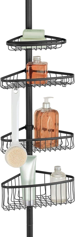 InterDesign York Estantería telescópica para ducha, estante rinconero de metal con tecnología Constant Tension, negro mate
