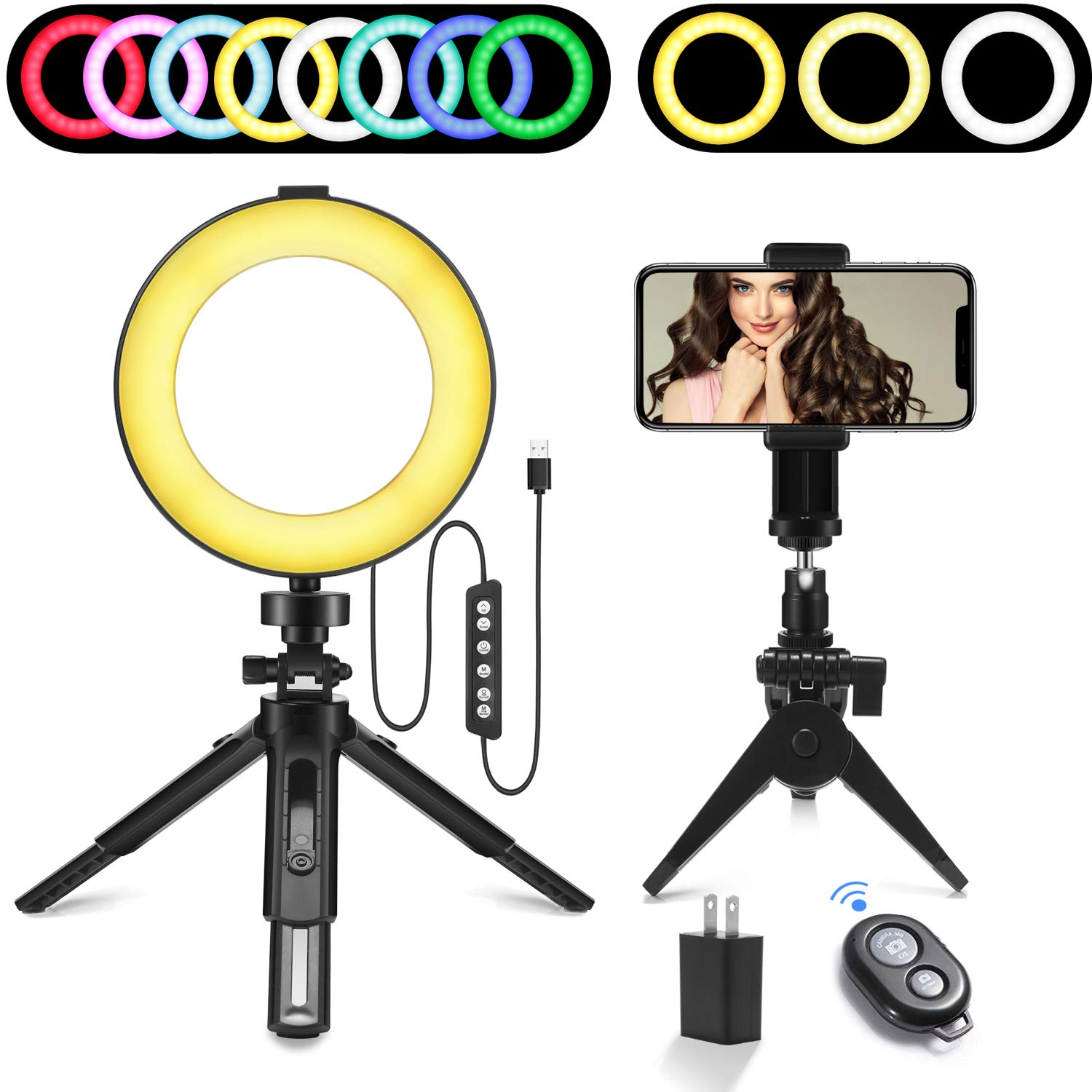 Ring Light, 6'' RGB Dimmable LED Ring Light kit with Adjustable Tripod Stand and Cell Phone Holder,8 RGB Colors & 3 Normal Colors, Mini Led Camera Desktop Ring Light for Selfie,Makeup,YouTube Video