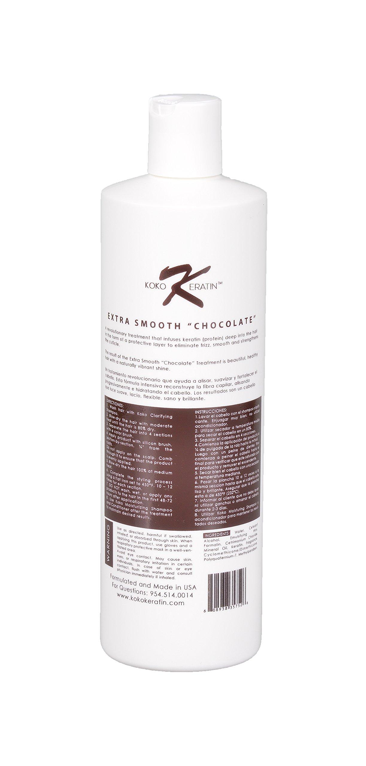 Brazilian Keratin Treatment Chocolate For Professional Use 16 Oz SUPER SMOOTHING, STRAIGHTENING, ADD VOLUME, ADD SHINE,ELIMINATE FRIZZ, PROTECTS HAIR. by KOKO KERATIN (Image #2)