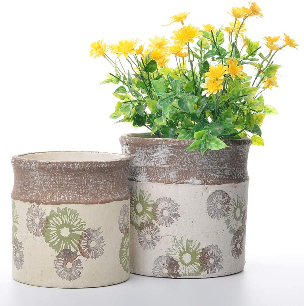 Rustic Ceramic Flower Pot Garden Planters Pack 2 Indoor Outdoor Vintage Plant Containers 6 7 , Cornflower