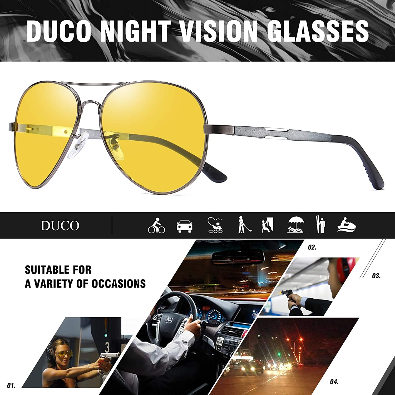 8917bb32139 Duco Pilot Style Night Vision Polarized Anti-Glare Glasses For Mens Womens  Sports 3026 3025Y
