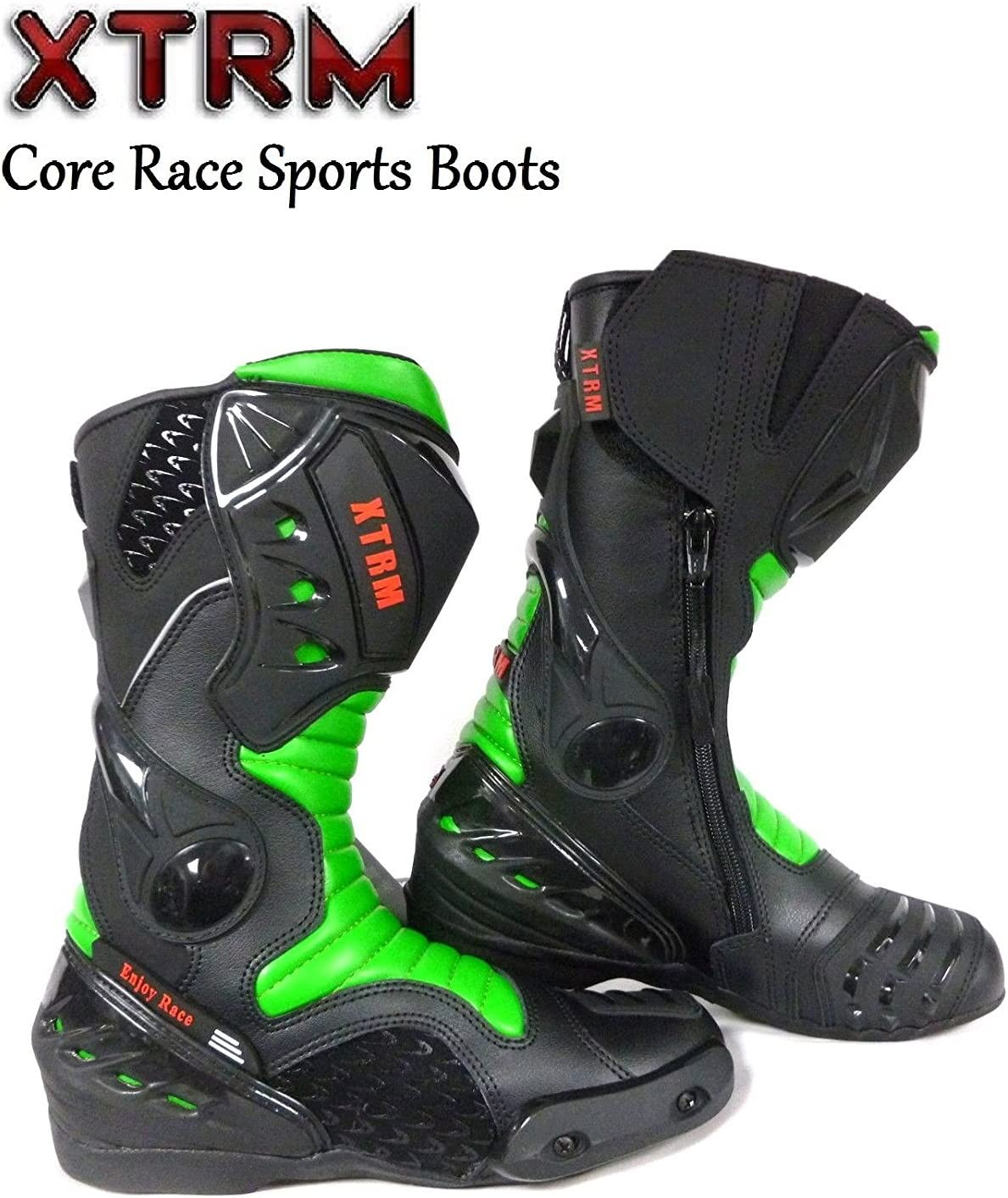 XTRM MOTORBIKE CORE ADULT BOOTS Motorcycle On Road Quad Racing Touring Sports CE Armour Boots Black Green