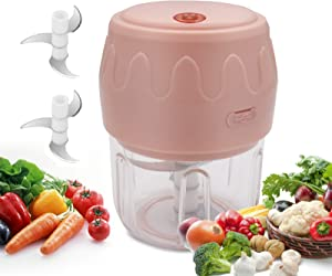 Kuanhong Mini Garlic Chopper, Electric Mincer, Portable Garlic Masher, Small Food Processor, Garlic Press With USB Charging for Onions, Chili, Vegetable, Nuts, Baby Food(250ML)