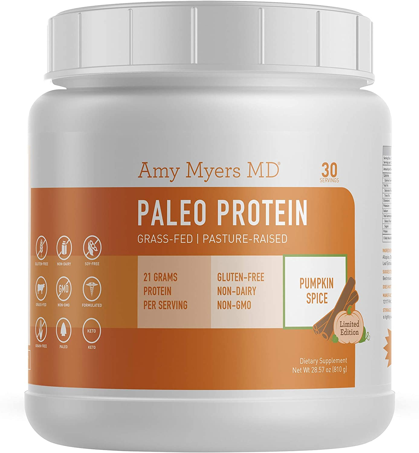 Seasonal Limited Edition Pumpkin Spice Pure Paleo Protein by Dr. Amy Myers Clean Grass Fed, Pasture Raised Hormone Free Protein, Non-GMO, Gluten Dairy Free 21g Protein Per Serving