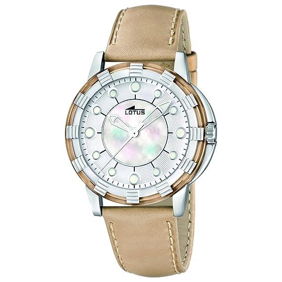 Lotus 15747/5 - Reloj analógico de cuarzo para mujer con correa de piel, color beige: Lotus: Amazon.es: Relojes