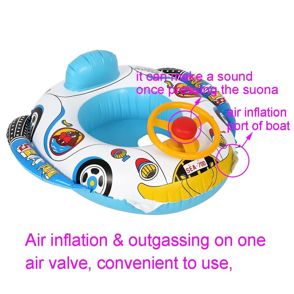Baby Swimming Float Boat Inflatable Car Seat Safety Swimmer Circle For Toddler Child Infant VGEBY