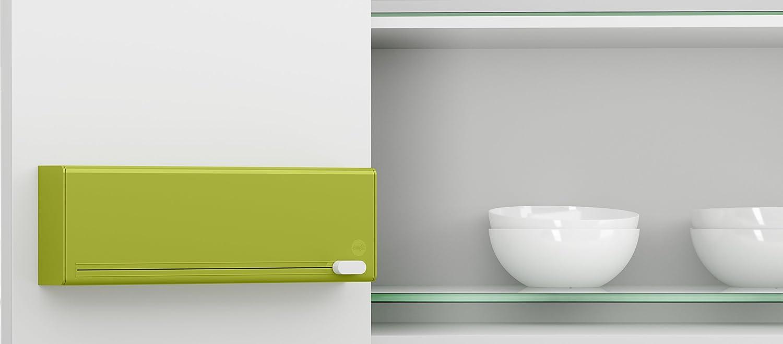 Emsa 515233 Coupe film alimentaire pour 2 rouleaux Smart Vert fixation sans trou dans le mur fournie