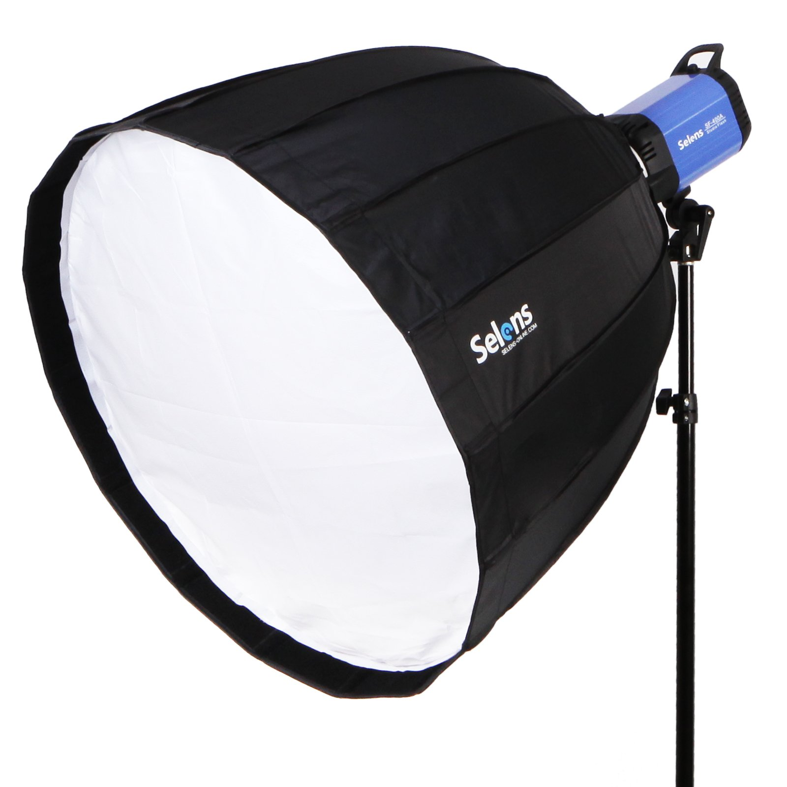 Selens Deep Parabolic Softbox 48 inches/120 Centimeters Hexadecagon Quick Folding Umbrella Softbox Diffuser with Bowens Speedring Mount for Photography Speedlites Flash Monolight and More by Selens