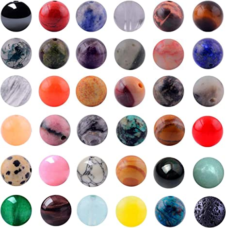 100Pcs Mixed Colors Attractive Gemstone Round Beads 8mm Jewelery Making