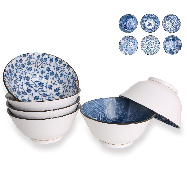 20-Ounce Porcelain Cereal, Soup, Salad Bowls, Assorted Floral Patterns, Deep Bowl Set of 6