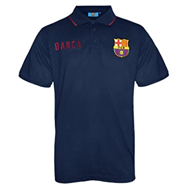 26322e1b371 FC Barcelona Official Football Soccer Gift Mens Crest Polo Shirt Navy Blue  Small