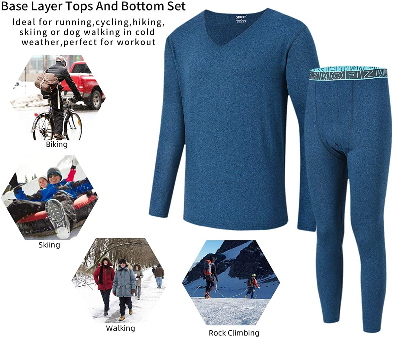 AIRIKE Mens Thermal Underwear Set Winter Long Johns Soft Base Layer
