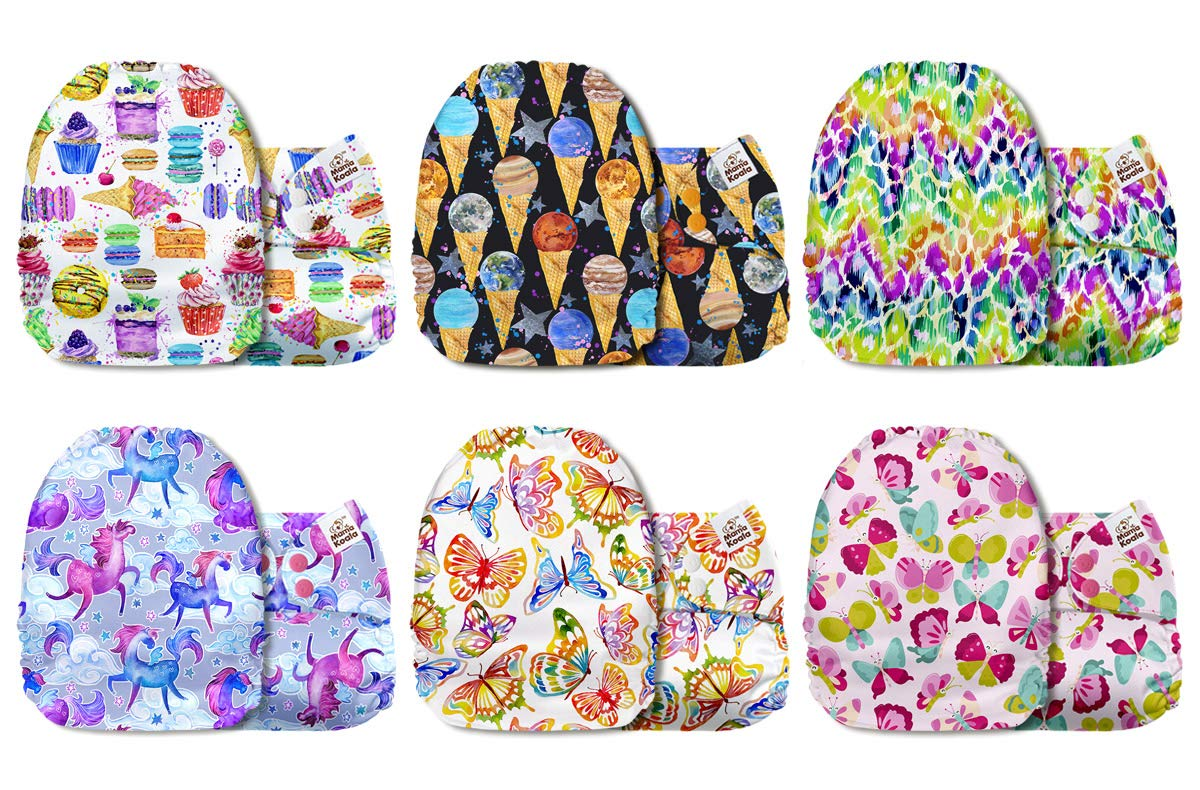 Mama Koala One Size Baby Washable Reusable Pocket Cloth Diapers 6 Pack Nappies with 6 One Size Microfiber Inserts The Elves