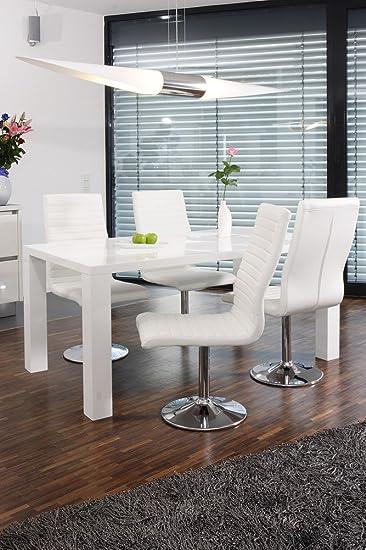 schwarz Luke 4 mit 160x90cm weiß Kunstleder Tisch Stühlen aus Essgruppe SalesFever Lio XnwP0ON8k