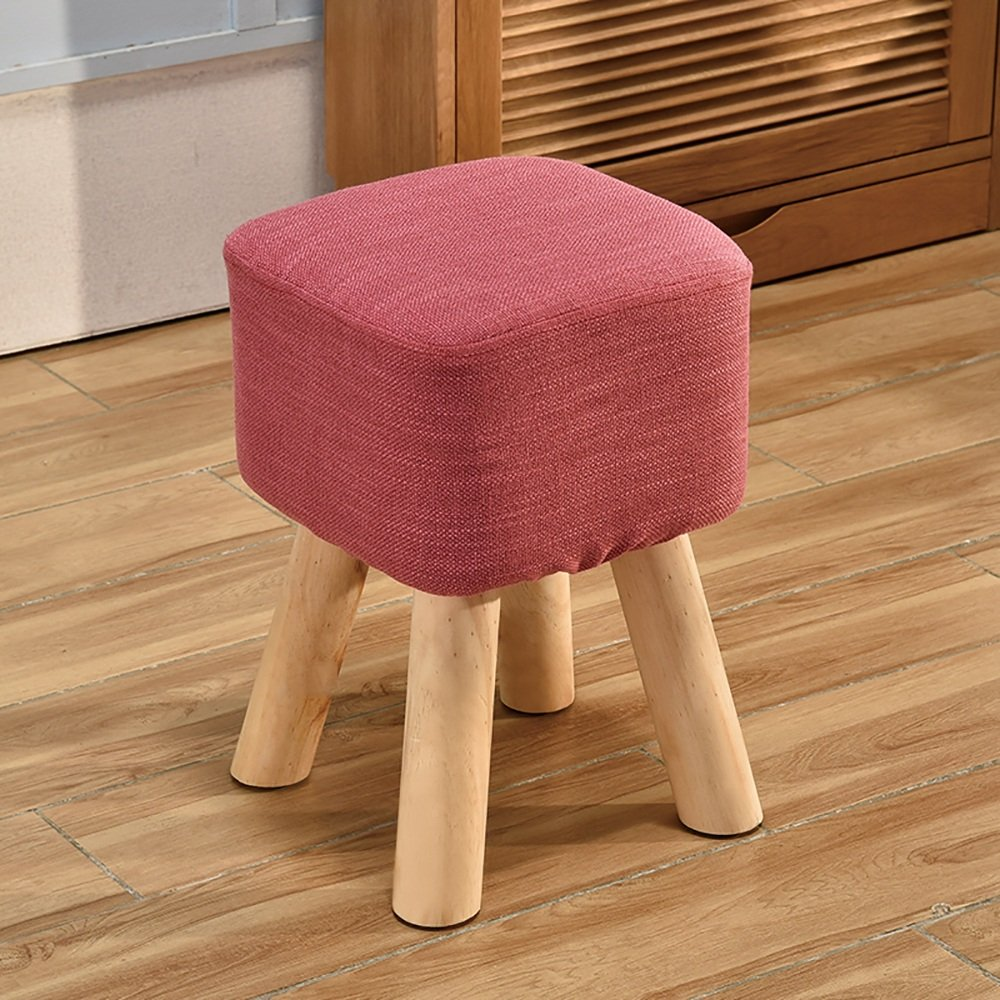XRXY Solid Wood Heightening Footstool / Creative Living Room Shoe Stool / Cloth Sofa Stool 5 Colors Available ( Color : Pink )