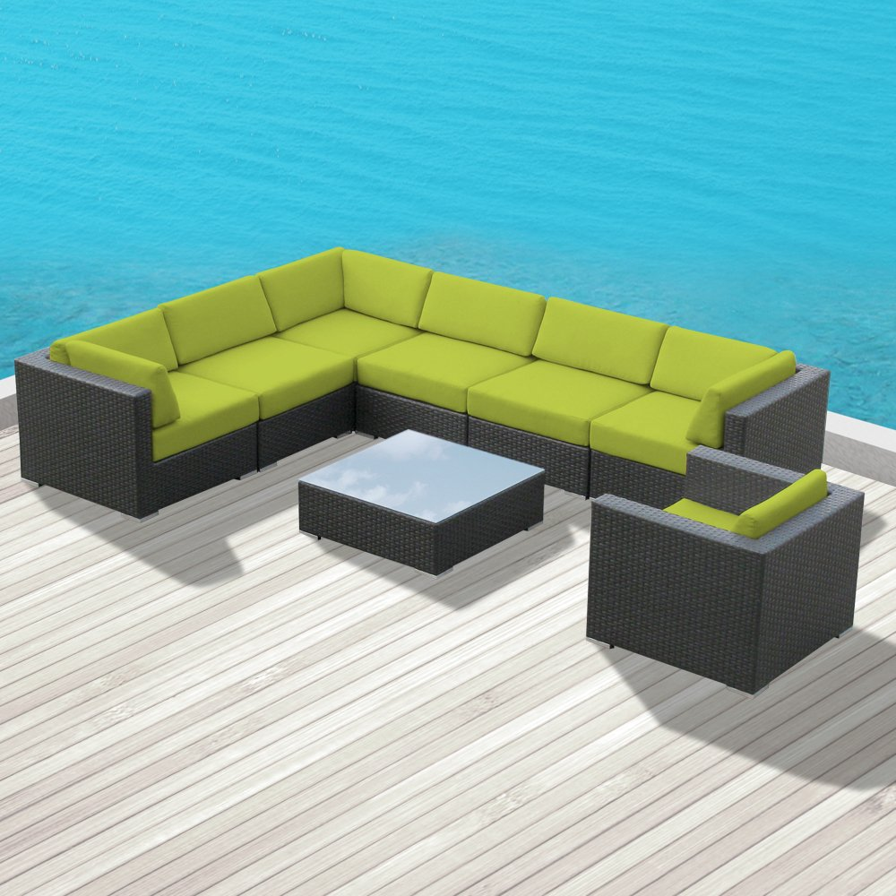 Luxxella Outdoor Patio Duxbury Sofa Sectional Furniture 8pc All Weather Wicker  Couch Set (Peridot): Amazon.co.uk: Garden & Outdoors