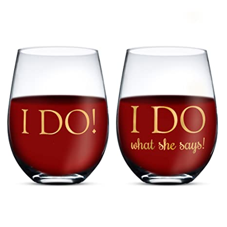 Amazon Gifffted I Do Wine Glasses His And Hers Funny