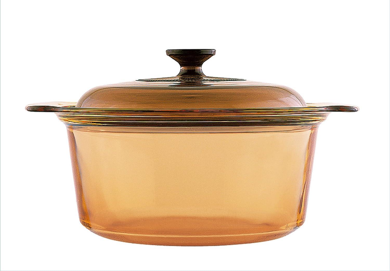 VISIONS - Olla de Vidrio Pyroceram, con Tapa de Vidrio, 3,5 litros, Color marrón